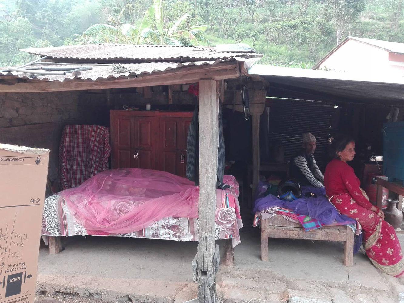 Kumar's elderly parents in makeshift housing